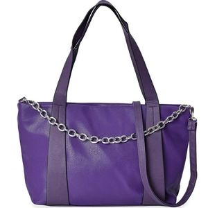 Lux Purple Pl  Embossed Leather Tote Crossbody